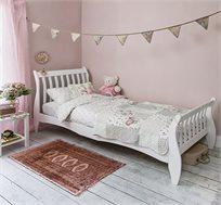מיטת יחיד לילדים ונוער מעוצבת עשויה מעץ מלא עם משענת ראש גבוהה דגם KODA