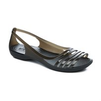 Crocs Isabella Huarache Flat - סנדל שטוח לנשים עם רצועות שקופות בצבע שחור
