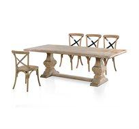 סט פינת אוכל ביתילי מעוצבת בסגנון אבירים הכוללת שולחן מעץ אורן ו4 כסאות עץ בוקיצה
