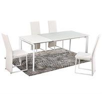 שולחן פינת אוכל מזכוכית בשילוב מתכת עם הרחבה
