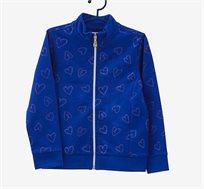 סווטשירט OVS לילדות בצבע כחול עם הדפס לבבות נוצצים