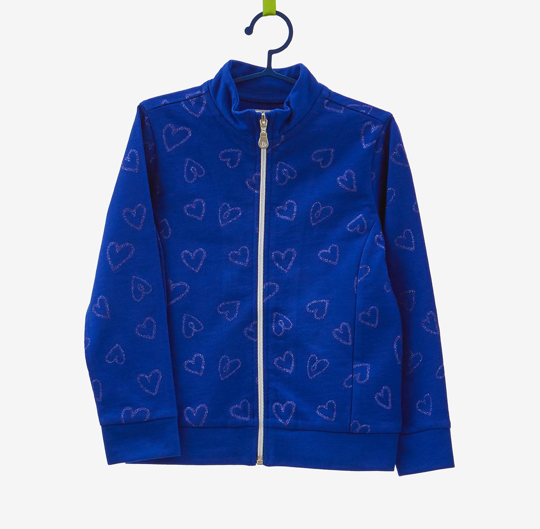סווטשירט OVS לילדות - כחול עם הדפס לבבות נוצצים
