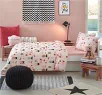 סט מצעים לחדרי ילדים ונוער 100% כותנה דגם סאקורה בגדלים לבחירה KITAN + מתנה