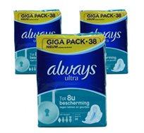 """3 מארזים גדולים של תחבושות מבושמות Always Ultra Normal - סה""""כ 114 יחידות"""