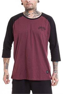 חולצת בייזבול SUPPLY - בורדו ושחור