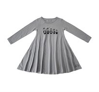 שמלת ג'רזי מסתובבת עם שרוול ארוך - אפור בשילוב הדפס בבושקות