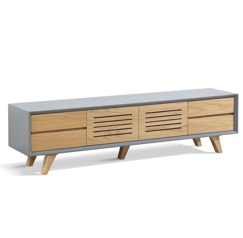 מזנון סלוני מעוצב בסגנון מודרני במראה המשלב צבע טבעי ואפור עם מקומות אחסון דגם פרסטיג' LEONARDO - תמונה 3