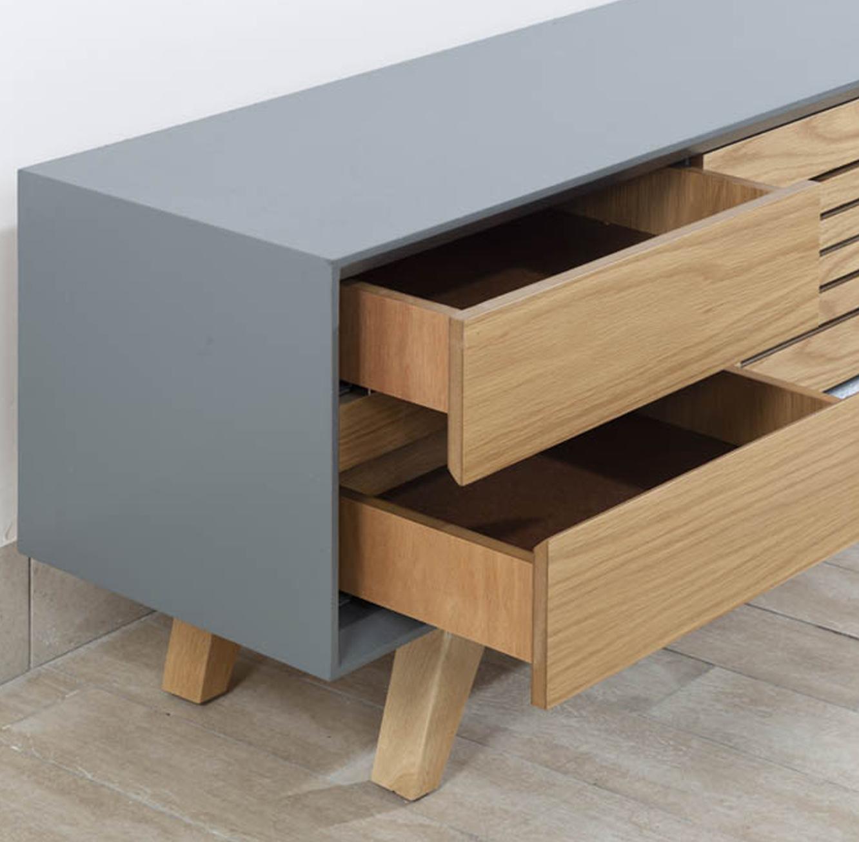 מזנון סלוני מעוצב בסגנון מודרני במראה המשלב צבע טבעי ואפור עם מקומות אחסון דגם פרסטיג' LEONARDO - תמונה 2