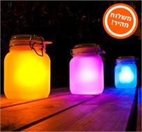 מושלם לקישוט הסוכה! s-jar תאורה סולארית מזכוכית מחליפה צבעים בצורת צנצנת, ללא צורך בחשמל