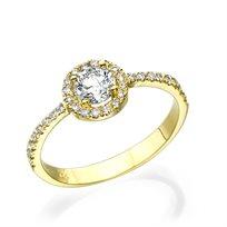 """טבעת אירוסין """"מיה"""" 0.76 קראט זהב צהוב"""