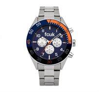 שעון יוקרתי לגבר French Connection עם רצועה כסופה על גבי לוח כחול