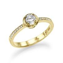 """טבעת אירוסין זהב צהוב """"מאי"""" 0.40 קראט בשיבוץ נוצץ ובוהק"""