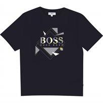 BOSS חולצת טישרט (16-10 שנים) כחול נייבי אפליקציה
