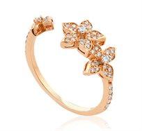 טבעת פרחים פתוחה זהב 14K משובצת יהלומים במשקל כולל של 0.32 נקודות