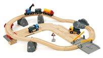 סט רכבות ומשאיות להעמסה ופריקה מעץ