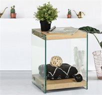 קוביית אחסון דגם סאט בעיצוב המשלב עץ וזכוכית מסדרת אקווה