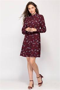 שמלה פרחונית בגזרת חולצת אריגה