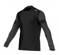 חולצת ספורט ארוכה Adidas לגבר - שחור/אפור