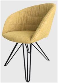 כיסא מעוצב דגם אמילי מבד קטיפה איכותי צבע חרדל רגליים שחורות