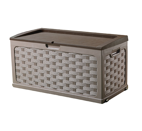 ארגז אחסון ראטן עמיד במיוחד בנפח 335 ליטר מתאים לישיבה הכולל גלגלים - תמונה 2