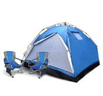 אוהל פתיחה מהירה ל-8 אנשים + זוג כיסאות קמפינג מתקפלים