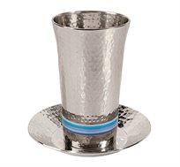 כוס קידוש בעבודת פטיש + 5 טבעות EMANUEL במגוון צבעים לבחירה
