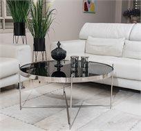 שולחן לסלון בעיצוב אלגנטי משולב זכוכית שחורה ובסיס מתכתי