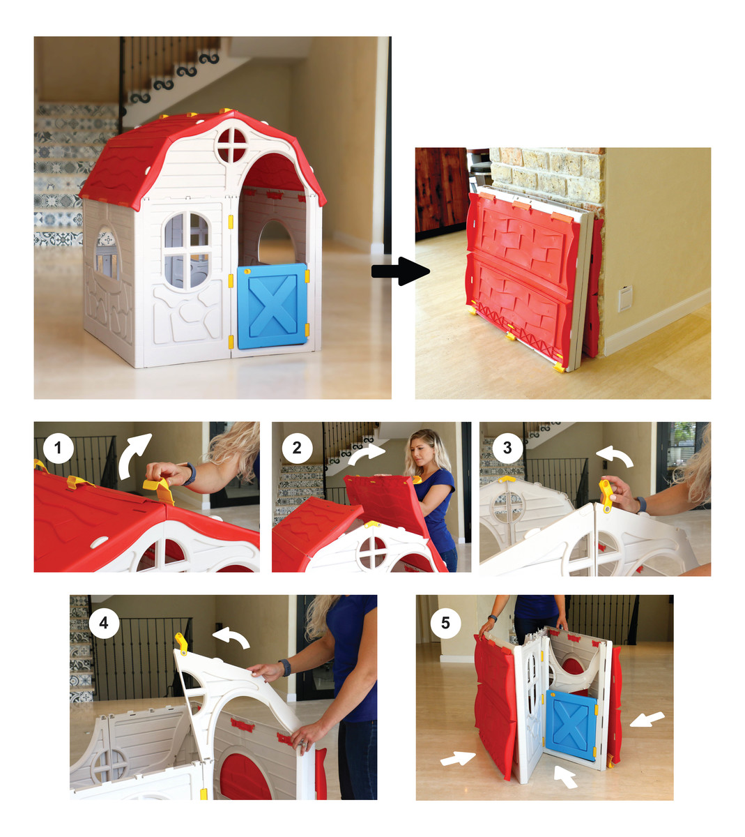 בית ילדים מתקפל מפלסטיק למרפסת או לחצר תוצרת ישראל מנגנון קיפול ייחודיי לאחסון קל ומהיר S-free - משלוח חינם - תמונה 8