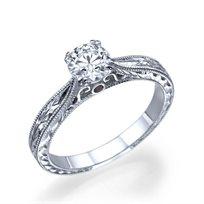 טבעת אירוסין זהב לבן וינטאג' 0.42 קראט בעבודת יד