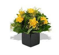 ורדים צהובים, סידור פרחים צהוב וייחודי המשלב ורדים צהובים וירק - משלוח חינם!