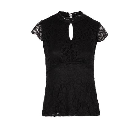 חולצת תחרה MORGAN עם שרוולים קצרים - שחור