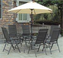 סט לגינה CAMPTOWN הכולל שולחן 6 כיסאות ושמשייה דגם טורינו