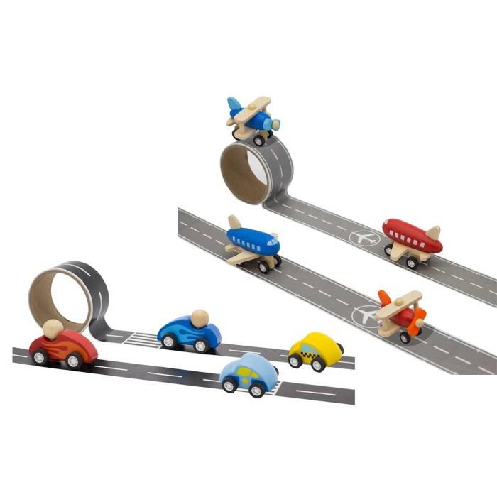 כלי תחבורה מעץ עם מסלול דביק