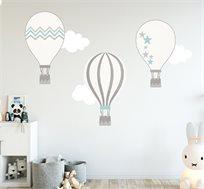 סט שלישיית מדבקות כדורי פורחים ועננים מעוצבות לחדרי הילדים