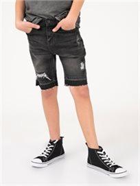 מכנסי ברמודה גינס עם קרע