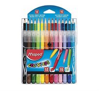 מארז הכולל 12 טושים ו-15 צבעי עיפרון