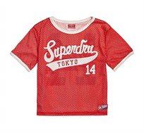 חולצה דו צדדית קצרה בהדפס הלוגו Clarrie לנשים - אדום/לבן