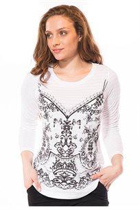 חולצה עם הדפס קדמי בצבע לבן