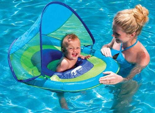 גלגל ים / הליכון ציפה לפעוטות עם זוג טבעות ניפוח וגגון שמש - כחול Swimways