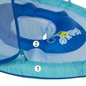גלגל ים / הליכון ציפה לפעוטות עם זוג טבעות ניפוח וגגון שמש - כחול Swimways - תמונה 5