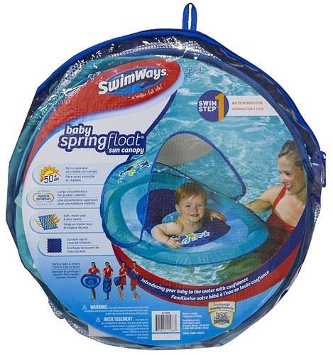 גלגל ים / הליכון ציפה לפעוטות עם זוג טבעות ניפוח וגגון שמש - כחול Swimways - תמונה 4