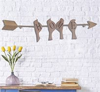 שלט דקורטיבי HOME BIRDS בשילוב של עץ ומתכת לתלייה על הקיר
