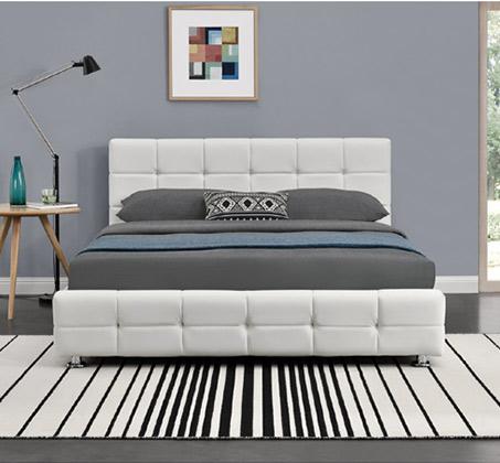 מיטה זוגית בריפוד דמוי עור ובסיס עץ מלא בעיצוב מודרני דגם עומר HOME DECOR  - תמונה 2