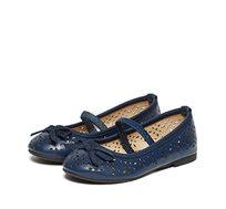 נעלי בלרינה שטוחות לילדות - כחול נייבי