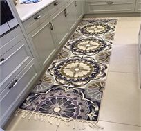 שטיח ראנר עבודת יד פרחי תכלת במגוון גדלים לבחירה