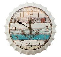שעון קיר בעיצוב פקק ורקע עוגן העשוי מתכת U DESIGN