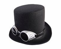 כובע מגבהת שחורה עם משקפיים