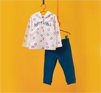 חליפת פוטר OVS לילדות בצבע כחול ולבן עם נוצצים והדפס