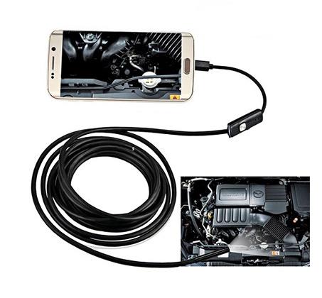 אנדוסקופ  - מצלמת נחש  - חסינה למים באורך 2 מטר ותאורת 6 לדים - לאנדרואיד