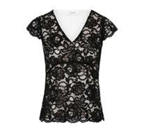 חולצת תחרה צמודה עם בטנה לבנה לנשים בצבע שחור